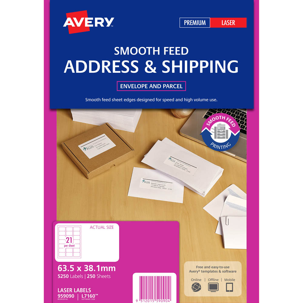 avery 959090 l7160 address label smooth feed laser 21up white pack