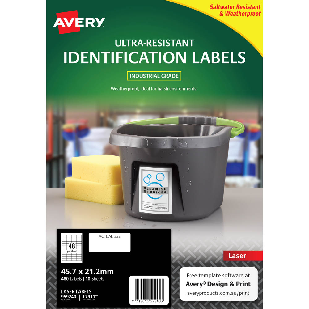 Image for AVERY 959240 ULTRA-RESISTANT OUTDOOR LABELS 45.7 X 21.2MM WHITE PACK 10 from Office National Sydney Stationery