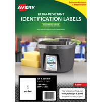 AVERY 959246 ULTRA-RESISTANT OUTDOOR LABELS 210 X 297MM WHITE PACK 10