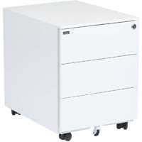 SKAN SIT-STAND MOBILE PEDESTAL WITH 3 SHALLOW DRAWERS 510 X 520 X 390MM WHITE POWDERCOAT