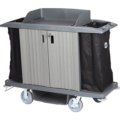 Image for COMPASS HARD FRONT HOUSEKEEPING TROLLEY WITH DOORS GREY from Mackay Business Machines (MBM)